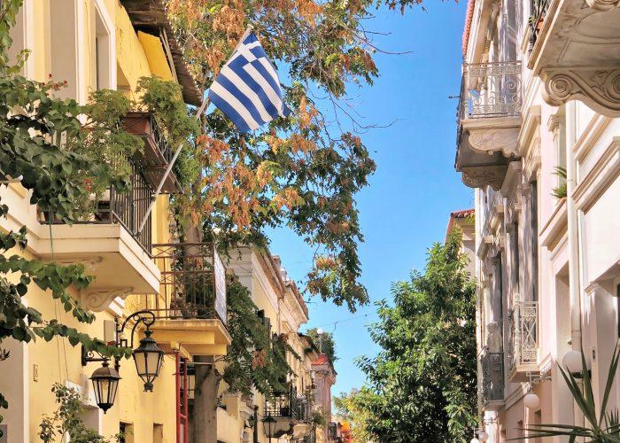 Street in the Plaka neighborhood in Athens, Greece