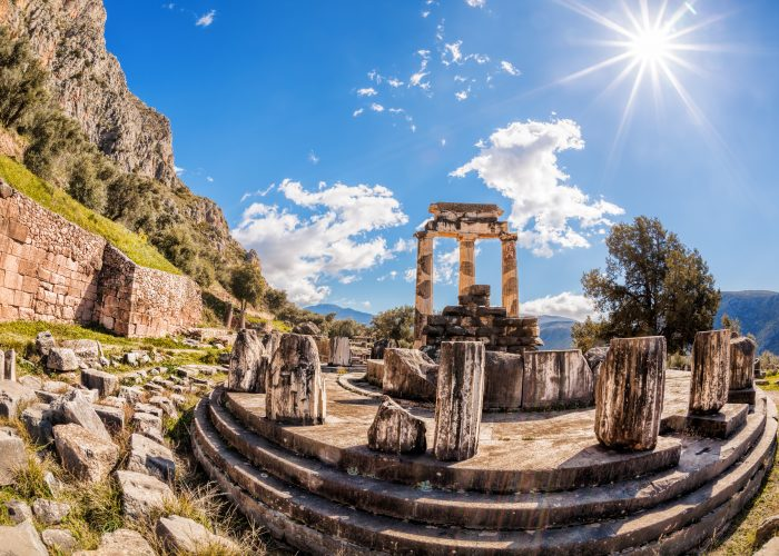 Ruins from the Temple of Athena Pronaia in Delphi, Greece
