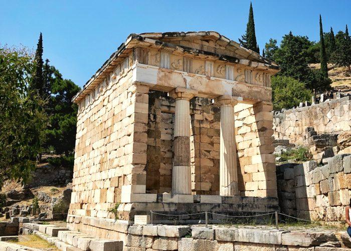 The Athenian Treasury in Delphi, Greece.