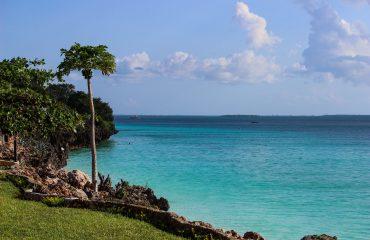 Clear blue sky and blue ocean in Zanzibar