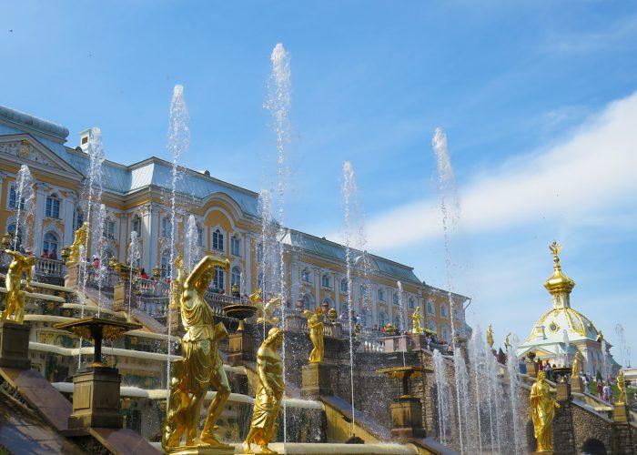 Gold fountains at Peterhof in Saint Petersburg, Russia