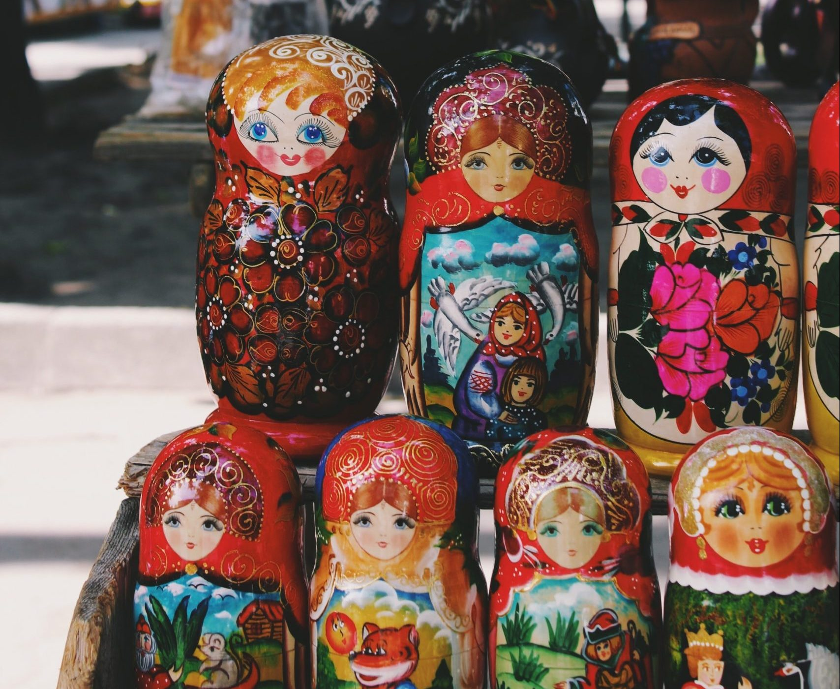 Russian dolls on the streets of Moscow